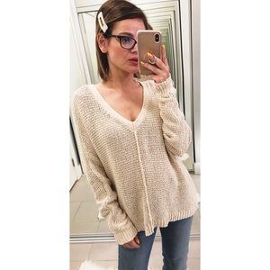 Free People V Neck Sweater in Cream